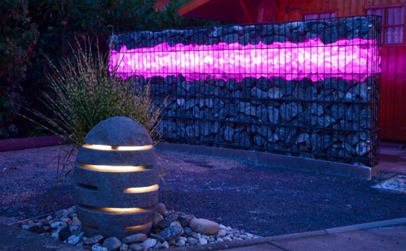 Gabionen Beleuchtung RGB+W – farbiges und weißes Licht