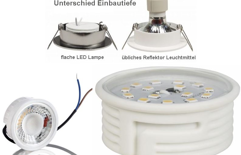 Flache LED Lampen für Einbaustrahler in schmalen Zwischendecken