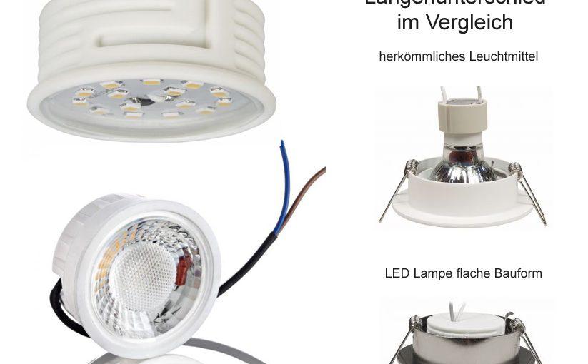 LED Leuchtmittel mit geringer Einbautiefe für flache Zwischendecken