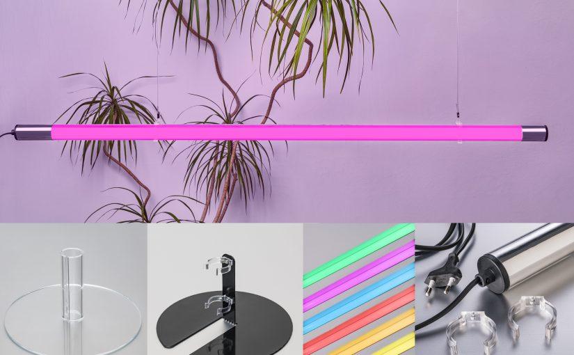 Messebau Lichtideen mit farbigem und weißem LED Licht