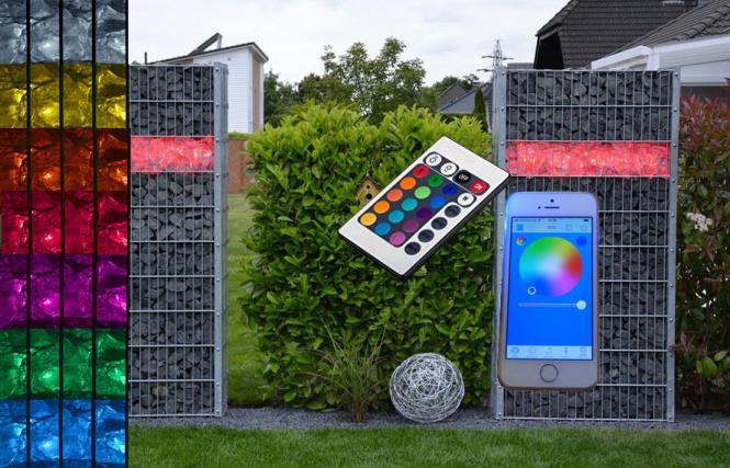 Bluetooth Gabionen Beleuchtung jetzt mit Steuerung per App verwalten