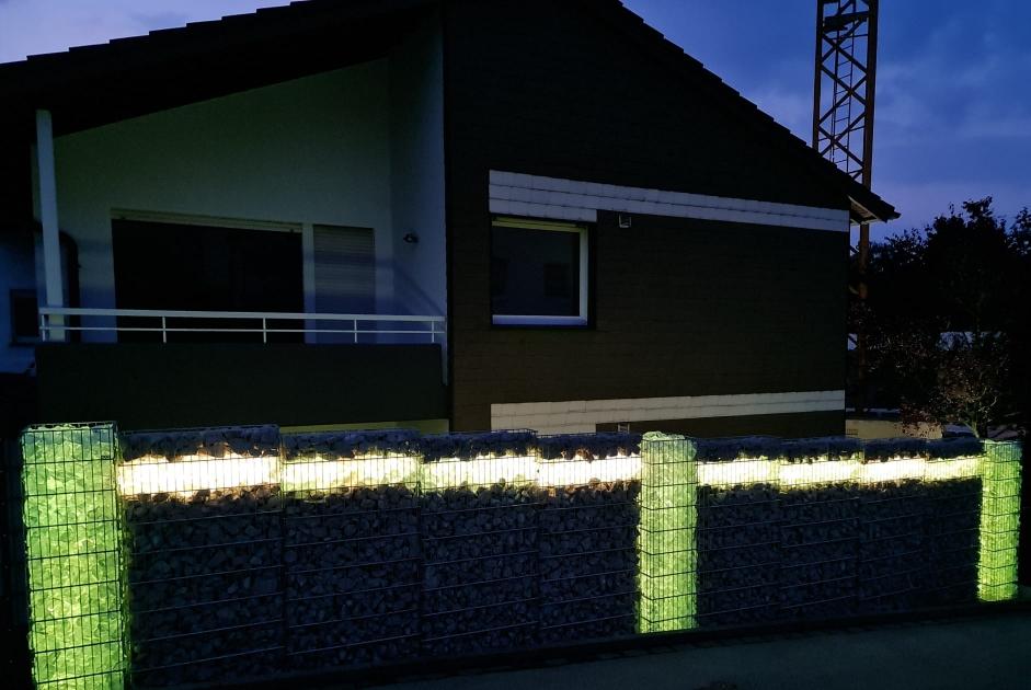 Lichtgestaltung Gabionenleuchte