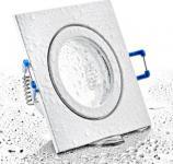 Feuchtraum Einbau Spot weiß eckig IP44 mit Schutzglas inkl. GU10 Fassung