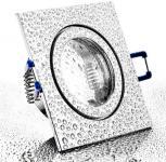 Feuchtraum Einbau Spot Chrom eckig IP44 mit Schutzglas inkl. GU10 Sockel