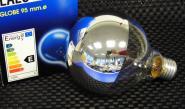 Globe Kopfspiegel Lampe Ø 95 mm E27 28 Watt silbern