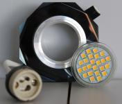 Kristall Einbaustrahler 1er Set edles Schwarz 8 eckig inkl. LED Leuchtmittel