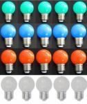 LED Lampe Tropfen bunt 20er SET rot/weiß/grün/blau