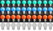 LED Lampe Tropfen bunt 40er SET rot/weiß/grün/blau