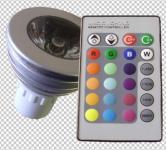 LED 3 Watt RGB Power Leuchtmittel Sockel GU10 + Fernbedienung