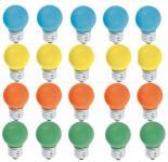 Tropfen 15 Watt E27 farbig gemischt 20er SET