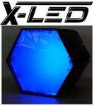 X-LED Lichtmodul 6-kant Gehäuse ohne Netzteil Blau
