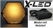 X-LED Lichtmodul 6-kant Gehäuse Netzteil 1 A warmweiß