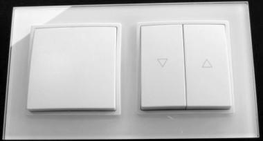 abelka nuovo 2er rahmen 1x wechsel schalter 1x jalousie wei licht. Black Bedroom Furniture Sets. Home Design Ideas
