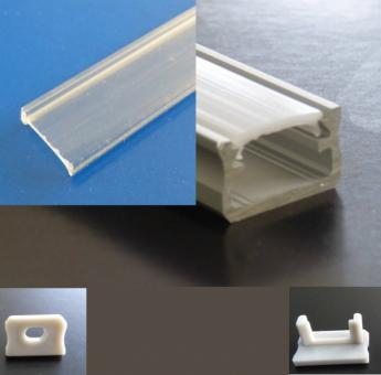 ALU Profil 12mm x 1m transparente Abdeckung graue Endkappen + Halter