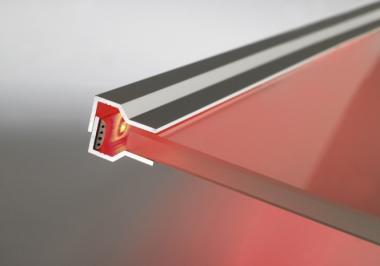 Glaskantenprofil Aluminium für LED Streifen 760 mm