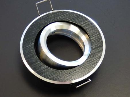 Design Einbaustrahler ALU 2-farbig schwarz silbern mit GU10 Sockel