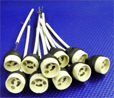 Fassung Keramik Sockel GU10 Kabel ca. 150 mm 10er Pack
