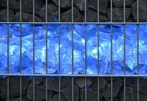 Gabionen LED Leuchte 360° Abstrahlwinkel 0,45 m blau