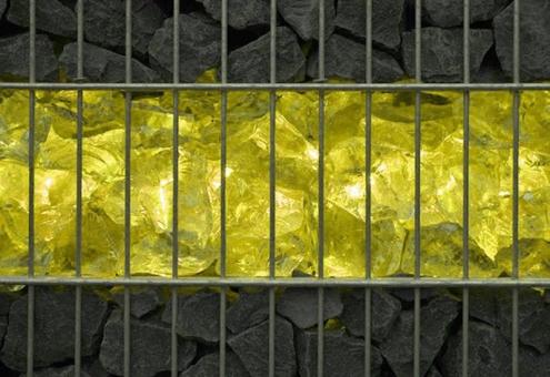 Gabionen LED Leuchte 360° Abstrahlwinkel 0,45 m gelb