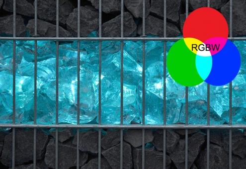 RGB+kaltweiß Gabionen Leuchte LED 360° 0,45 m Fernbedienung