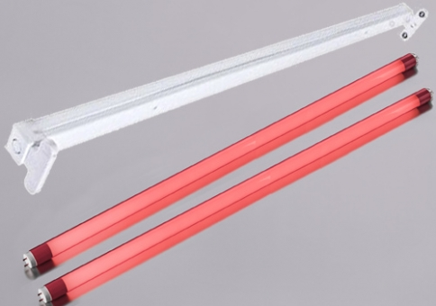 Armatur mit 2 LED T8 Röhren 60 cm Rot je 10 Watt