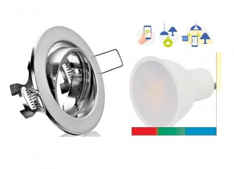SMART Decken Einbauspot 5W dimmbar RGB+CCT Steuerung WLAN App und Sprache möglich