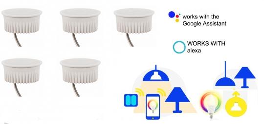 SMART 5er Pack extra flache LED 5 Watt warmweiß bis kaltweiß APP ALEXA/Google steuerbar