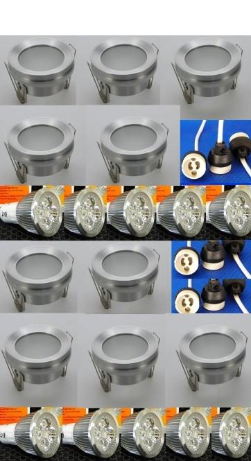 feuchtraum alu einbauspot dimmbar 4 watt kaltwei 10er set leuchten und lampen einbaustrahler. Black Bedroom Furniture Sets. Home Design Ideas