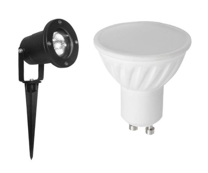 led garten strahler schwarz mit erdspie und stecker kaltwei 8 watt 580 lumen alu. Black Bedroom Furniture Sets. Home Design Ideas
