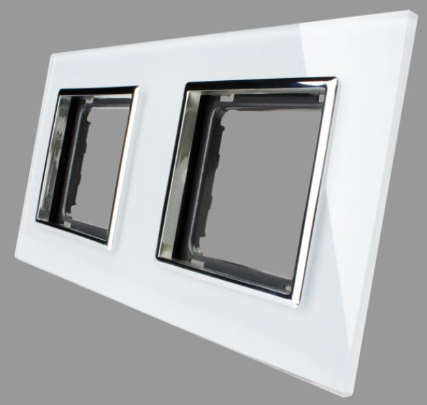 abelka glas rahmen 2 fach wei steckdosen rahmen led lampen und beleuchtung. Black Bedroom Furniture Sets. Home Design Ideas
