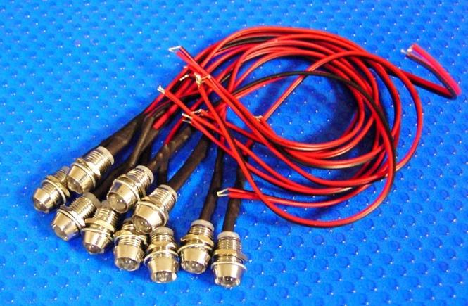 LED Einbau Metall Ø 9,5 mm 10 Stück rot