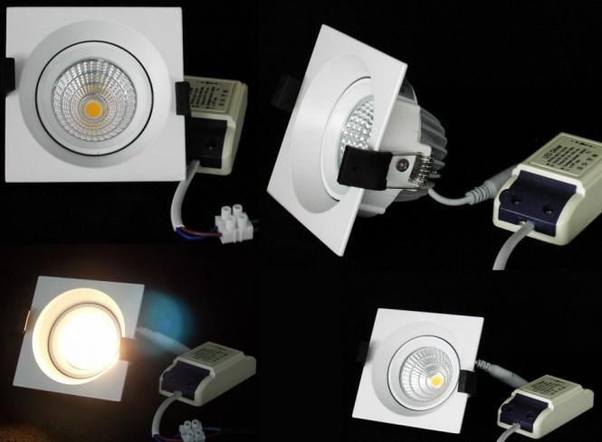 led einbaustrahler square 100x100 mm cob warmwei leuchten und lampen einbaustrahler lichted. Black Bedroom Furniture Sets. Home Design Ideas