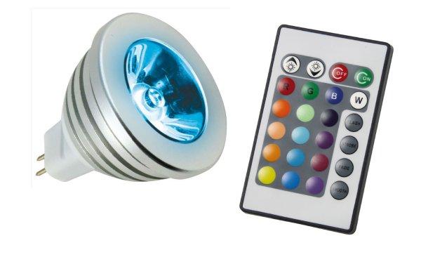 led 3 watt 12 volt rgb power leuchtmittel gx5 3 fernbedienung leuchtmittel led lampen. Black Bedroom Furniture Sets. Home Design Ideas