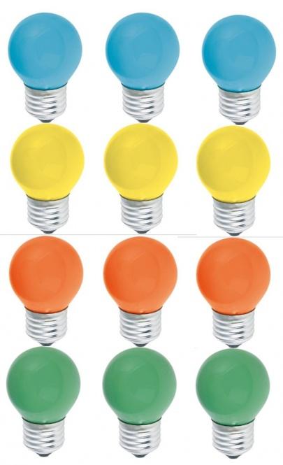 Tropfen 15 Watt E27 farbig gemischt 12er SET