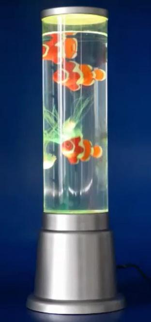 Wassersäulen LED Lampe farbig bunt 3x Clown Fisch