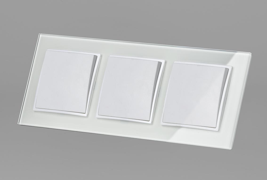 abelka nuovo glas 3 x wechselschalter wei 230 v 10a lichtschalter wei glas. Black Bedroom Furniture Sets. Home Design Ideas