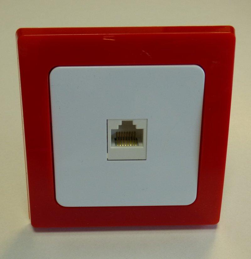 Delphi Anschlussdose RJ45 Telefon & CAT5 roter Rahmen   Leuchten ...