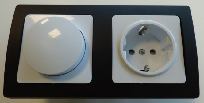 delphi unterputz 1 x led dimmer 1 x steckdose schwarz unterputz. Black Bedroom Furniture Sets. Home Design Ideas