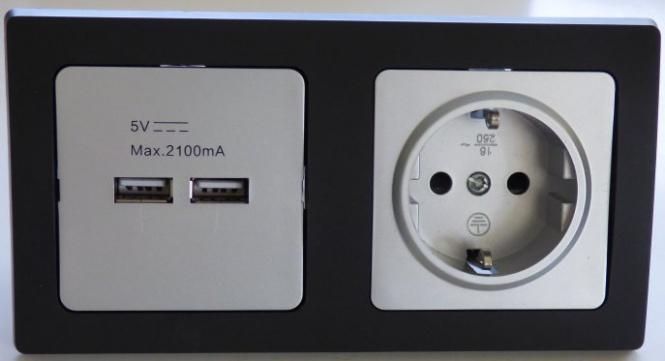 DELPHI 1x USB 2er 1x Steckdose silbern Rahmen schwarz | Leuchten ...