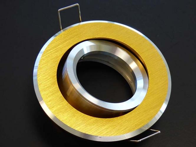 einbaustrahler alu 2 farbig mattgold silber mit gu10 sockel strahler. Black Bedroom Furniture Sets. Home Design Ideas