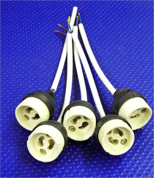 fassung keramik sockel gu10 kabel ca 150 mm 5er pack leuchtmittel zubeh r. Black Bedroom Furniture Sets. Home Design Ideas
