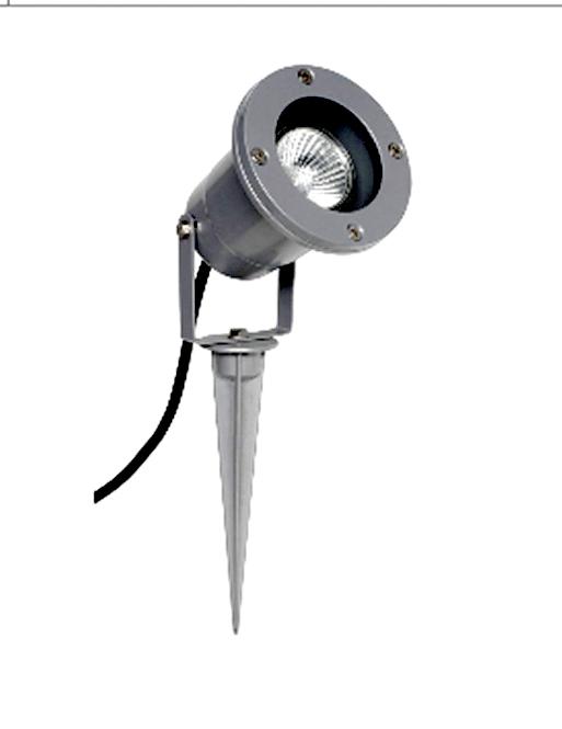 gartenstrahler mit erdspie und anschlu kabel gu10 silbern leuchten und lampen au enleuchten. Black Bedroom Furniture Sets. Home Design Ideas