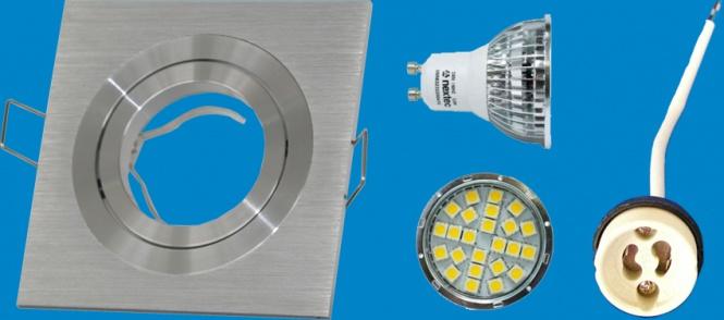 led alu einbauspot quadr 320 lumen dimmbar leuchten und lampen einbaustrahler. Black Bedroom Furniture Sets. Home Design Ideas