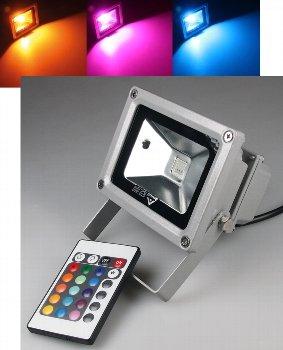 led strahler au enfluter rgb farbig einstellbar fernbedienung 10 watt ip44 leuchten und lampen. Black Bedroom Furniture Sets. Home Design Ideas