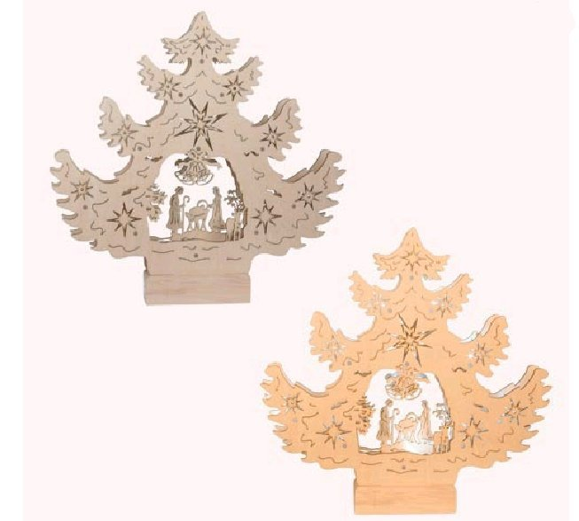 Led beleuchteter holz tannenbaum h he 31 cm diverses for Beleuchteter tannenbaum