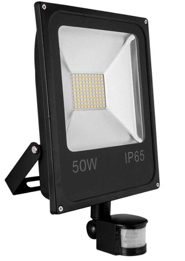 led flutlicht strahler mit bewegungsmelder 50 watt ip65 leuchten und lampen au enleuchten. Black Bedroom Furniture Sets. Home Design Ideas