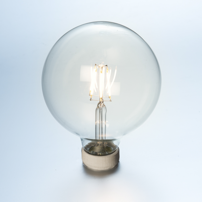 LED Globe Glühlampe Fadenlampe 8 W klar Ø 125 mm E27 840 Lumen ...