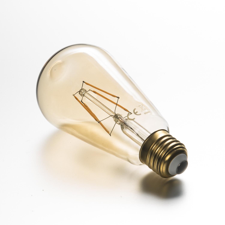 Led Glühlampe Fadenlampe St64 Retro 4 W Gold E27 400 Lumen Warmweiß